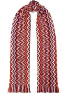 Missoni Woman Fringed Crochet Wool-blend Scarf Red