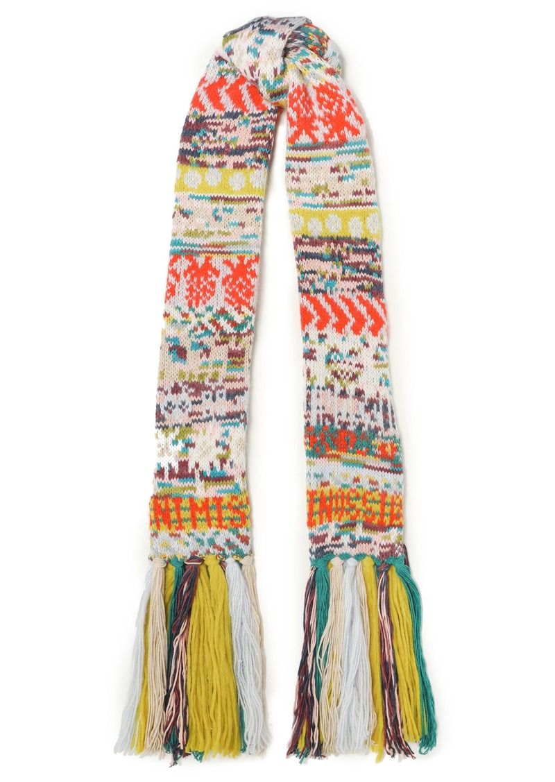Missoni Woman Fringed Intarsia-knit Scarf Multicolor