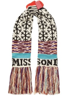 Missoni Woman Fringed Intarsia Wool-blend Scarf White