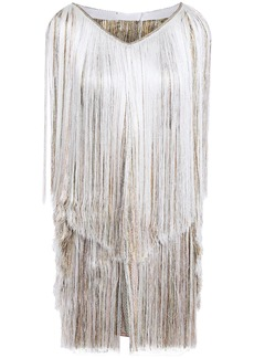 Missoni Woman Fringed Metallic Crochet-knit Halterneck Mini Dress Off-white