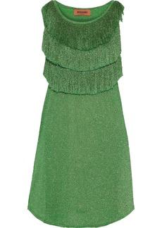 Missoni Woman Fringed Metallic Crochet-knit Mini Dress Green