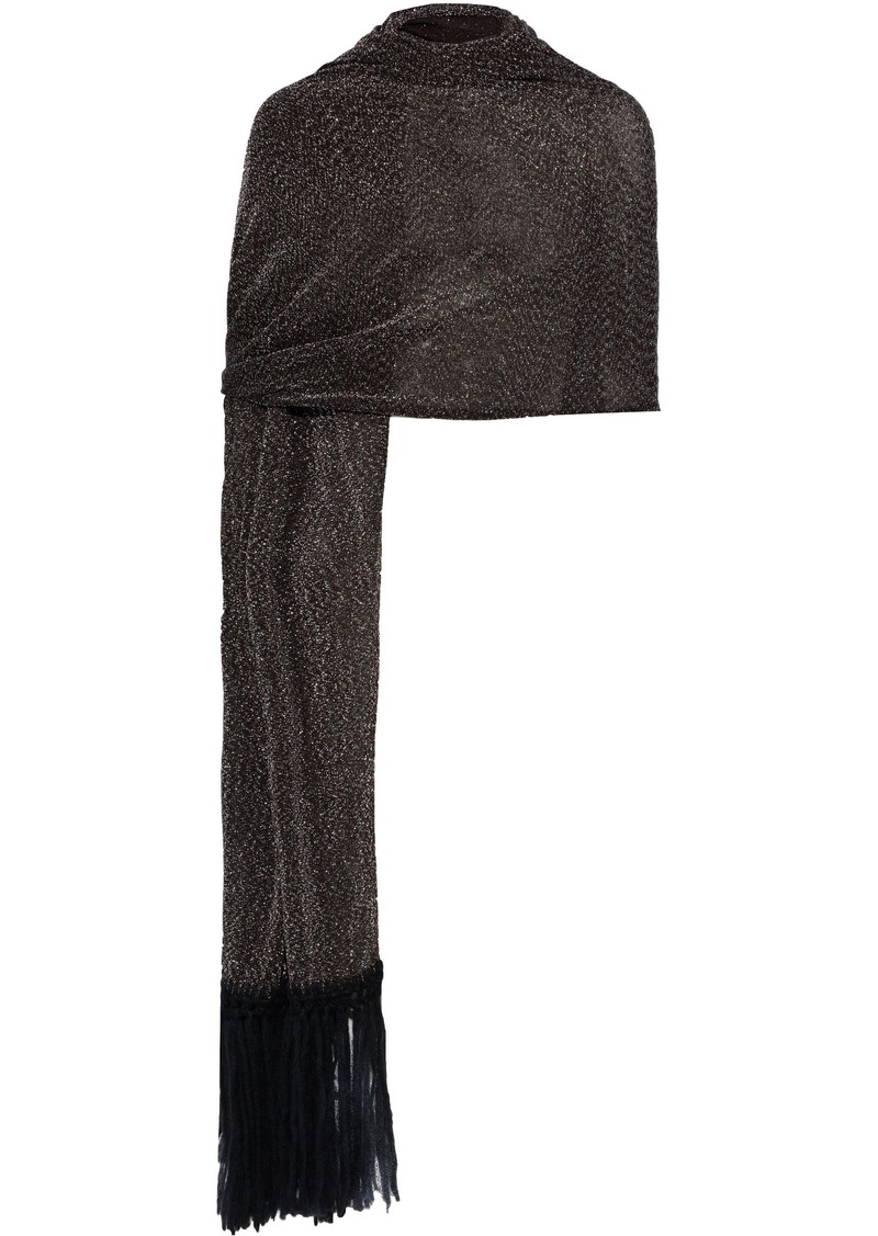 Missoni Woman Fringed Metallic Crochet-knit Scarf Black