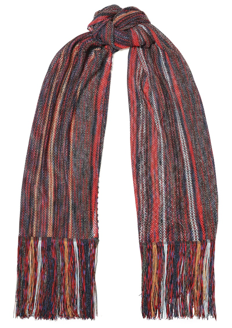 Missoni Woman Fringed Metallic Crochet-knit Scarf Brick