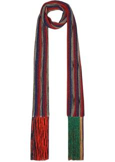 Missoni Woman Fringed Metallic Striped Crochet-knit Scarf Tomato Red