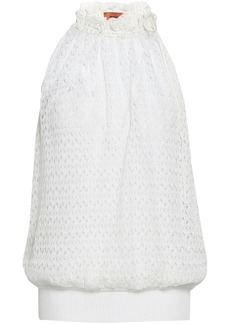 Missoni Woman Gathered Crochet-knit Top Ivory
