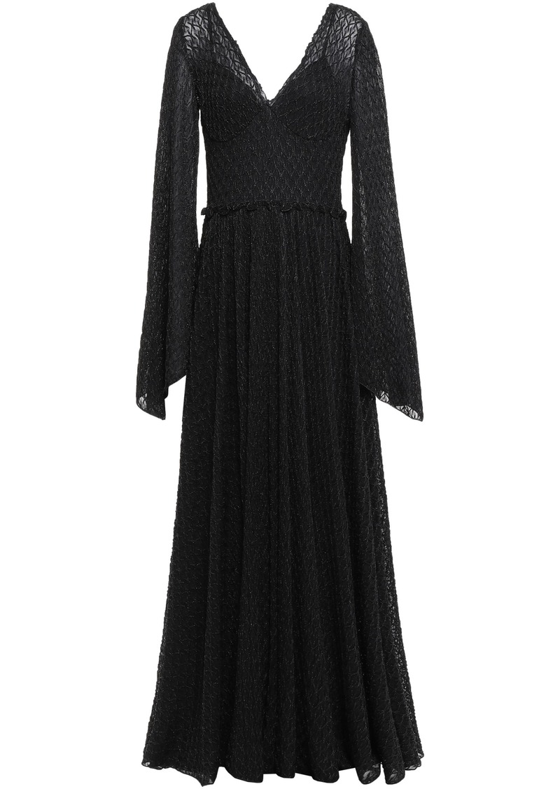 Missoni Woman Gathered Metallic Crochet-knit Maxi Dress Black