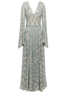 Missoni Woman Gathered Metallic Crochet-knit Maxi Dress Sky Blue