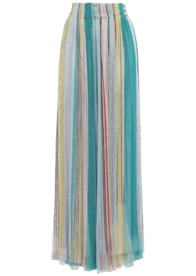 Missoni Woman Gathered Striped Crochet-knit Maxi Skirt Light Blue