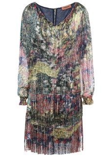Missoni Woman Georgette-paneled Fringed Printed Crepe Mini Dress Navy