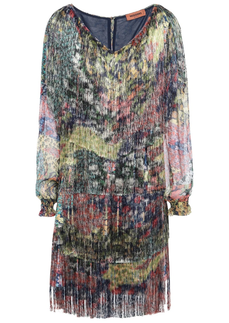 Missoni Woman Georgette-paneled Fringed Printed Crepe Mini Dress Navy