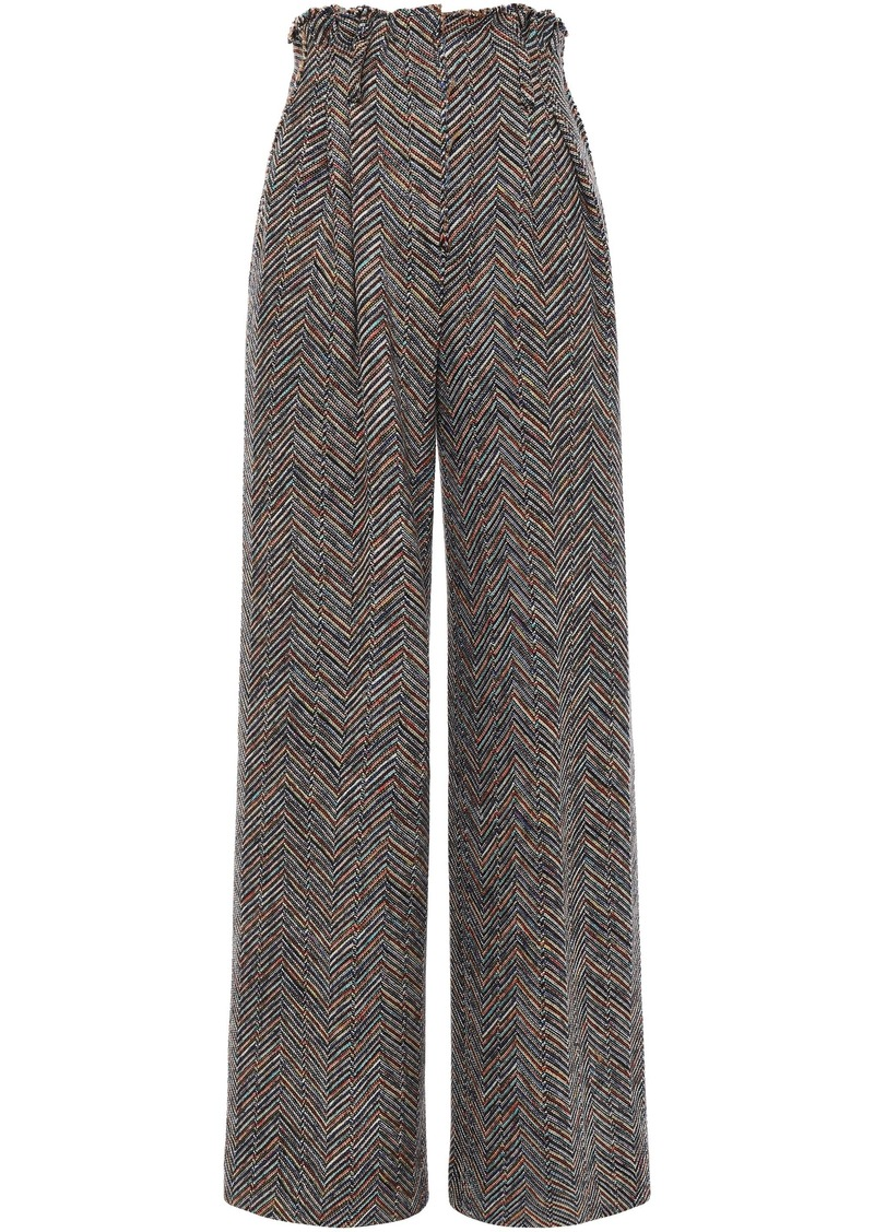 Missoni Woman Herringbone Wool And Cotton-blend Wide-leg Pants Mushroom