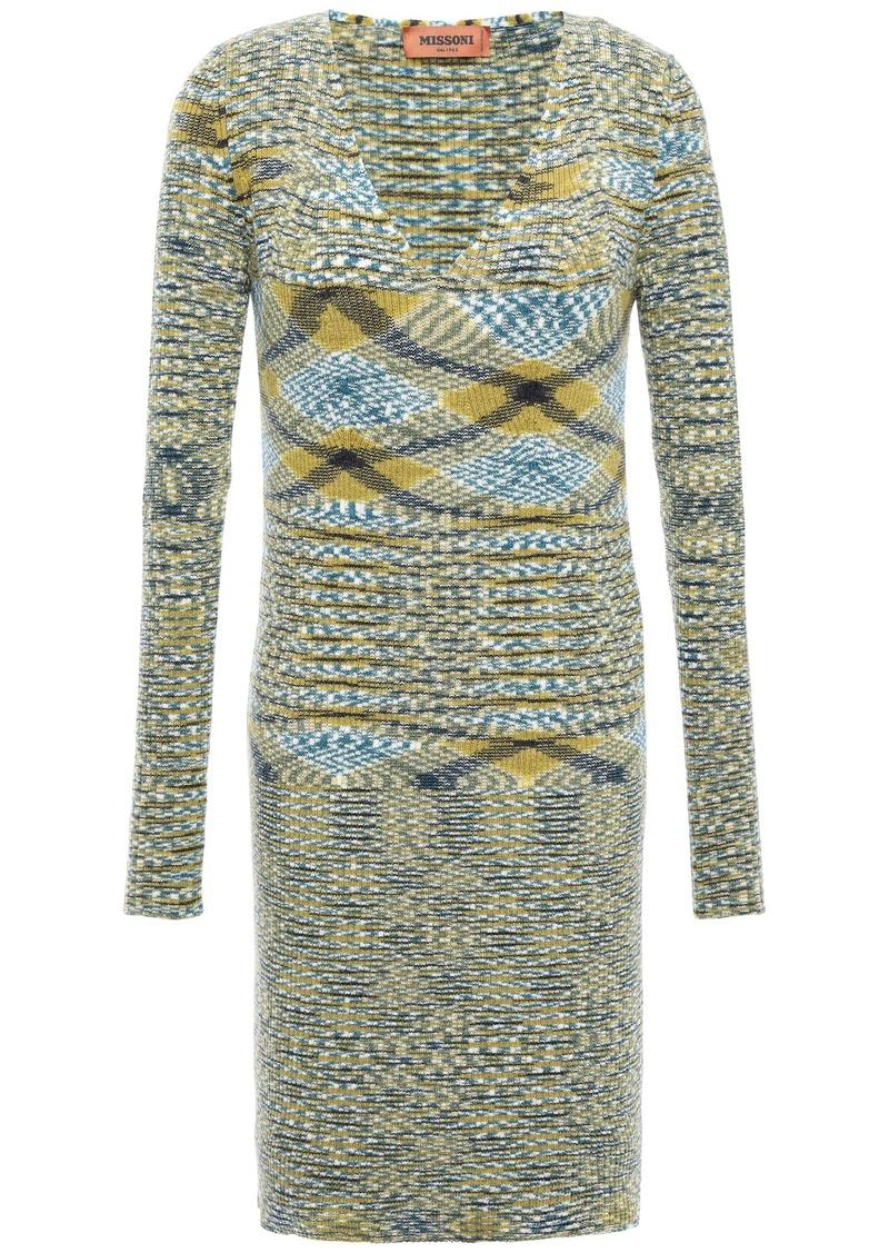 Missoni Woman Intarsia Cashmere Mini Dress Sage Green