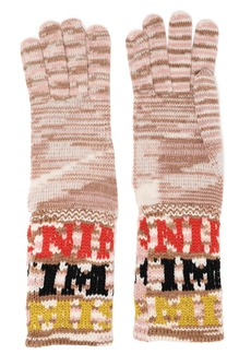 Missoni Woman Intarsia-knit Gloves Sand