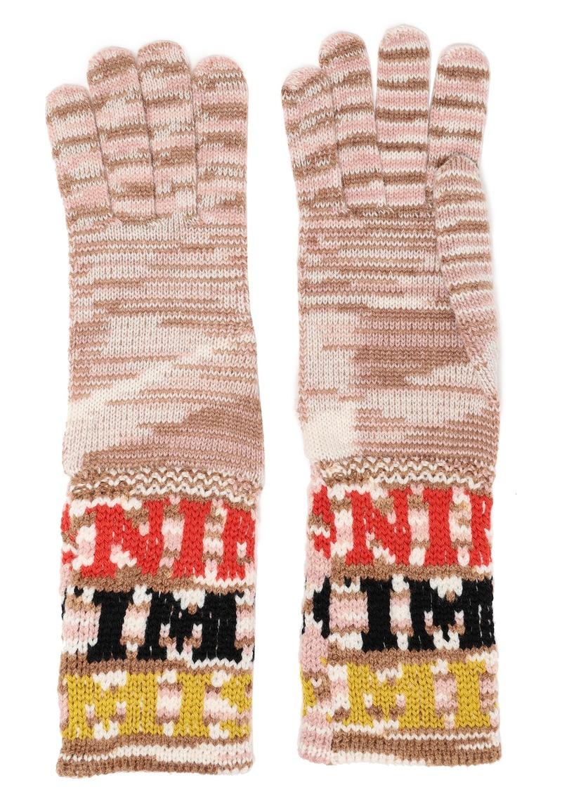 Missoni Woman Intarsia-knit Gloves Sand