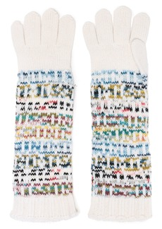 Missoni Woman Intarsia Wool And Cashmere-blend Gloves Ivory