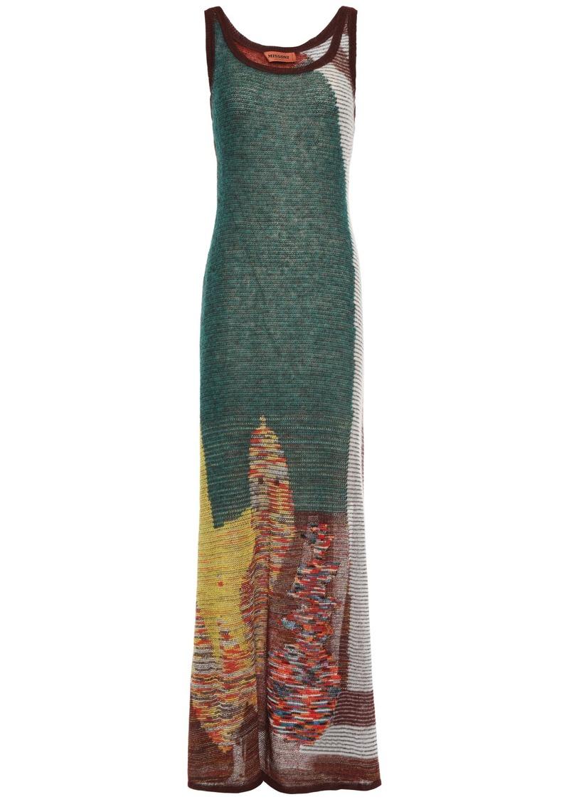 Missoni Woman Intarsia-knit Maxi Dress Brown