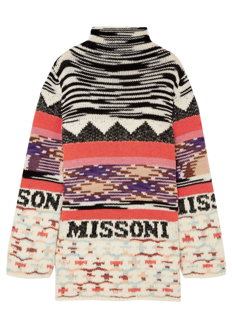 Missoni Woman Intarsia Wool-blend Mini Dress Black
