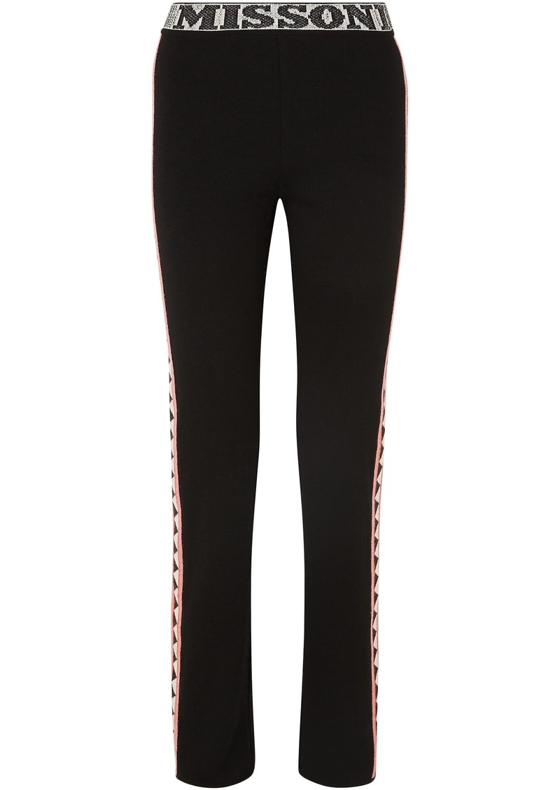 Missoni Woman Jacquard Knit-trimmed Wool-blend Straight-leg Pants Black