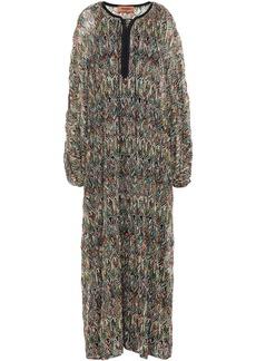 Missoni Woman Lace-up Crochet-knit Kaftan Black