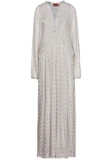 Missoni Woman Lace-up Metallic Crochet-knit Maxi Dress Light Gray
