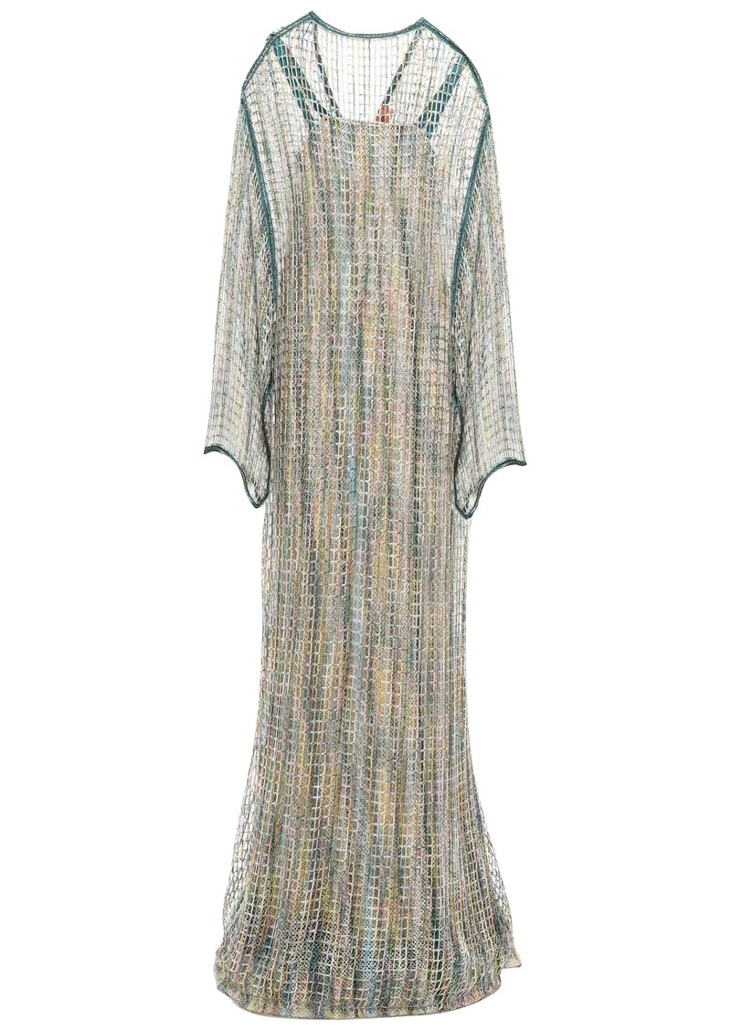 Missoni Woman Layered Metallic Open-knit Maxi Dress Emerald