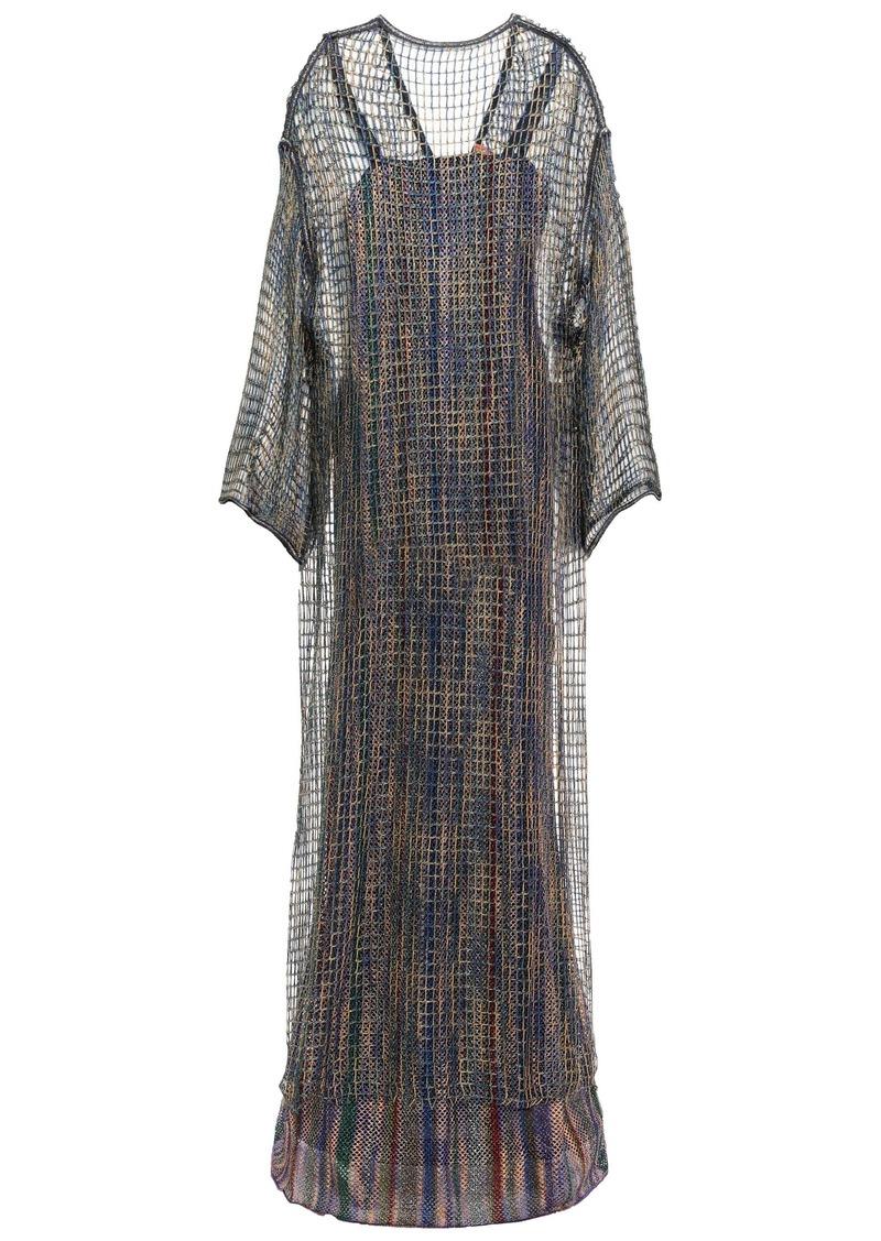 Missoni Woman Layered Metallic Open-knit Maxi Dress Sand