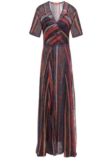 Missoni Woman Layered Metallic Striped Crochet-knit Maxi Dress Tomato Red