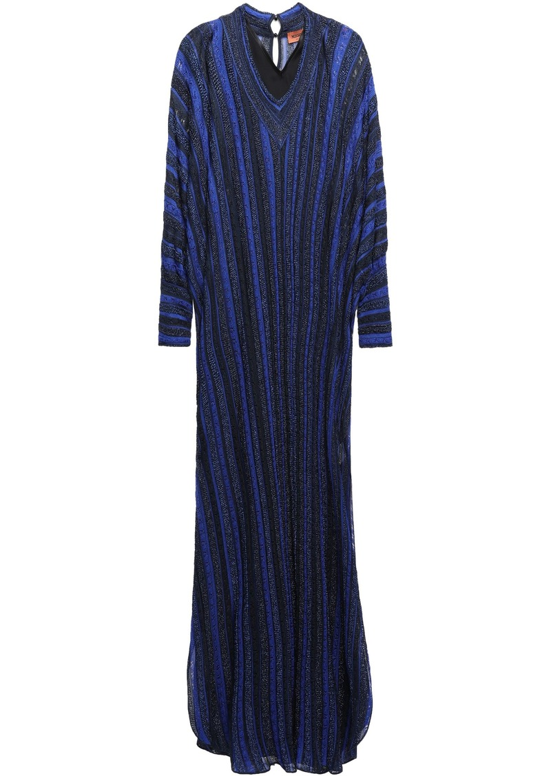 Missoni Woman Metallic Crochet-knit Maxi Dress Navy