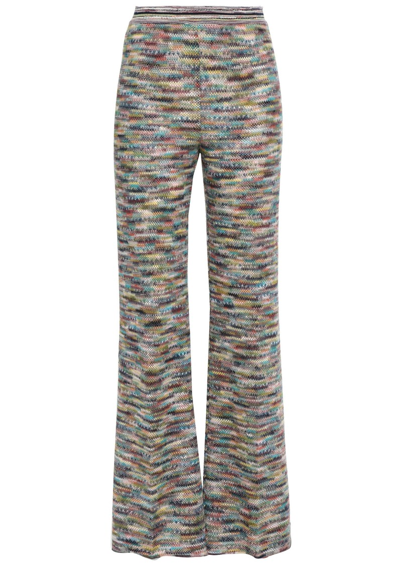 Missoni Woman Marled Crochet-knit Wide-leg Pants Lavender