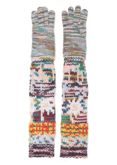 Missoni Woman Marled Intarsia Cashmere-blend Gloves Baby Pink