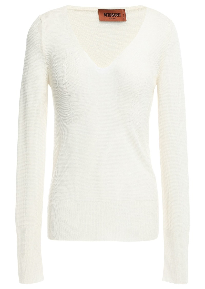 Missoni Woman Waffle-knit Wool-blend Top Ivory
