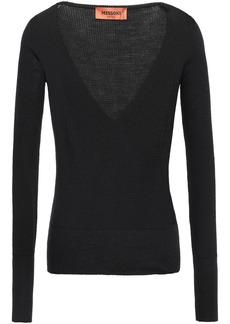 Missoni Woman Waffle-knit Wool-blend Top Black
