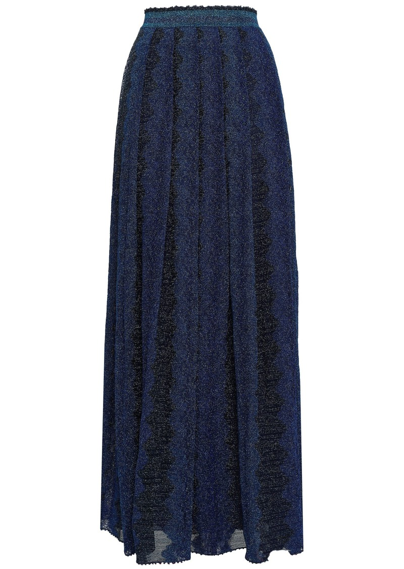 Missoni Woman Pleated Metallic Crochet-knit Maxi Skirt Navy