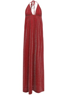 Missoni Woman Metallic Crochet-knit Halterneck Maxi Dress Crimson