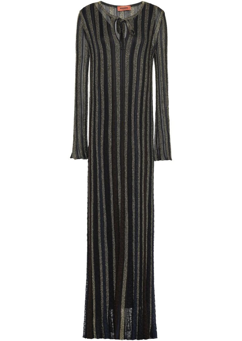 Missoni Woman Metallic Crochet-knit Maxi Dress Black