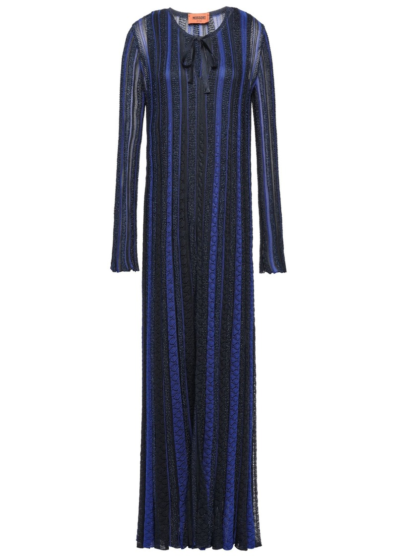 Missoni Woman Metallic Crochet-knit Maxi Dress Midnight Blue