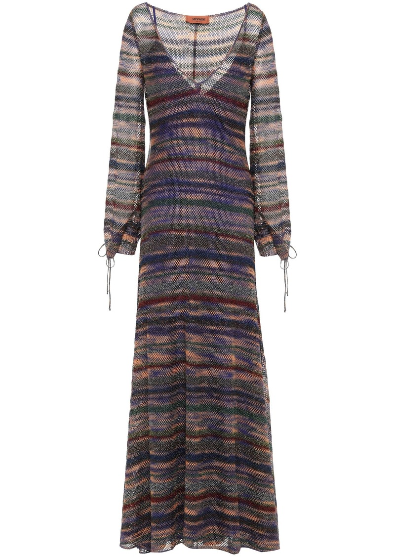 Missoni Woman Metallic Crochet-knit Maxi Dress Violet