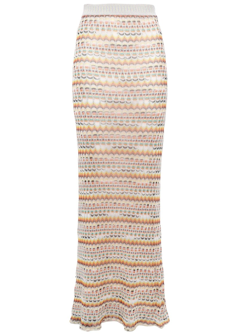 Missoni Woman Metallic Crochet-knit Maxi Skirt Silver