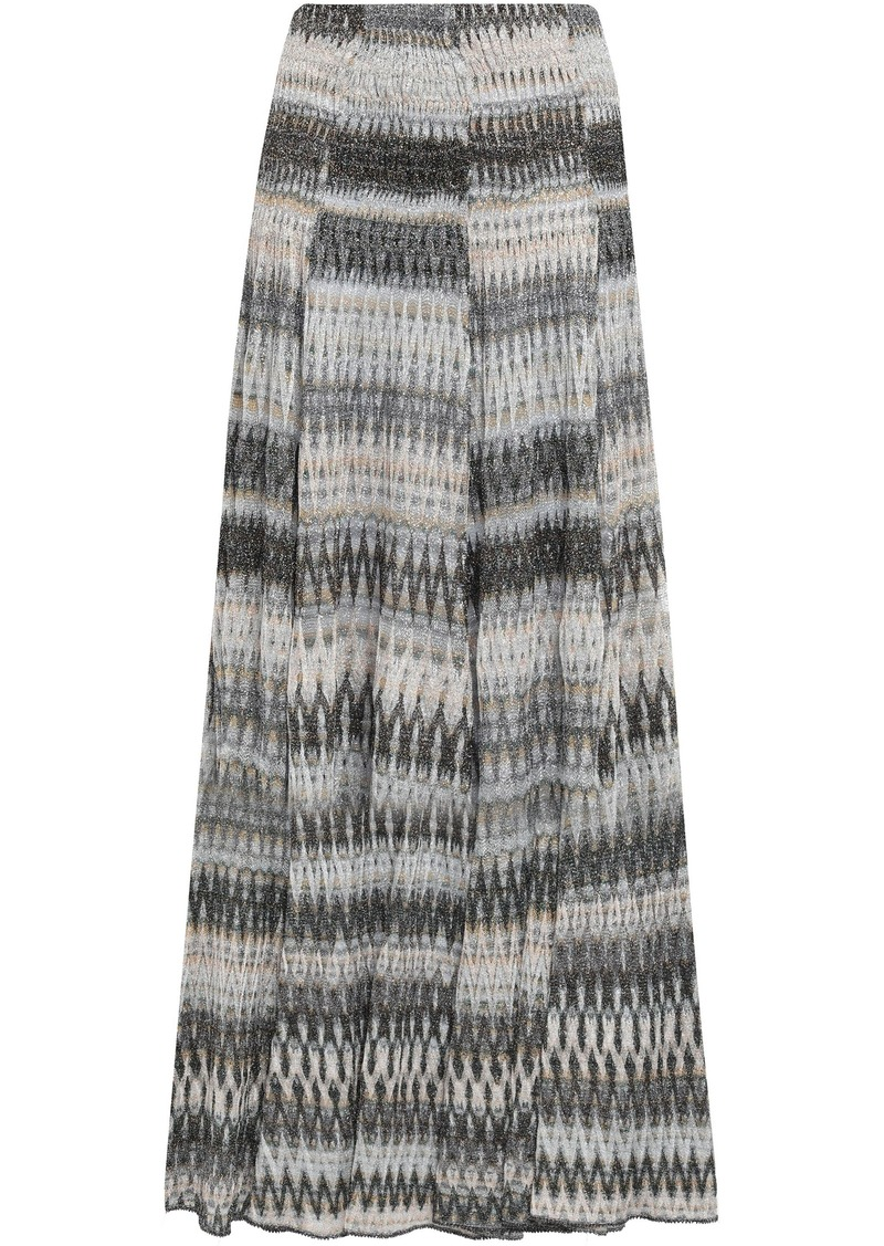 Missoni Woman Metallic Crochet-knit Maxi Skirt Gray