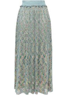Missoni Woman Metallic Crochet-knit Maxi Skirt Light Blue