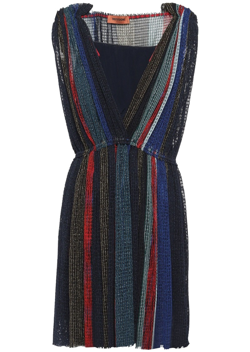 Missoni Woman Metallic Crochet-knit Mini Dress Navy