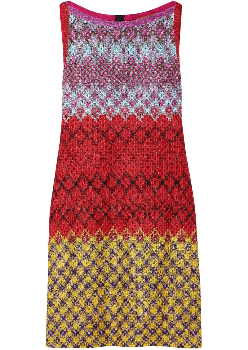 Missoni Woman Metallic Crochet-knit Mini Dress Red