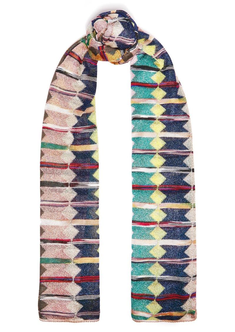 Missoni Woman Metallic Crochet-knit Scarf Multicolor