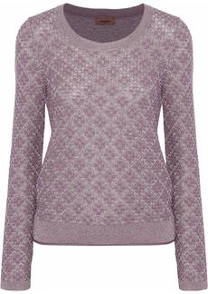 Missoni Woman Metallic Crochet-knit Sweater Lavender