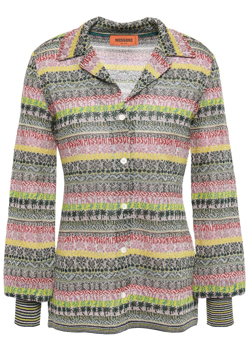 Missoni Woman Metallic Crochet-knit Top Multicolor