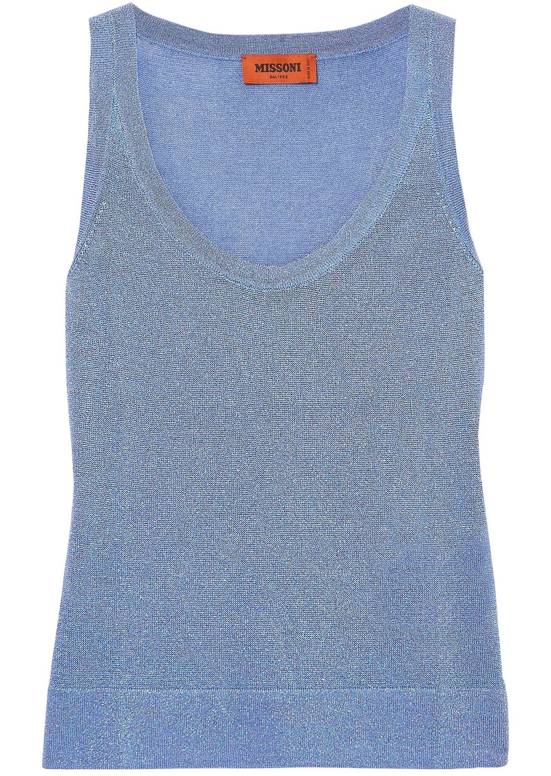Missoni Woman Metallic Crochet-knit Tank Azure