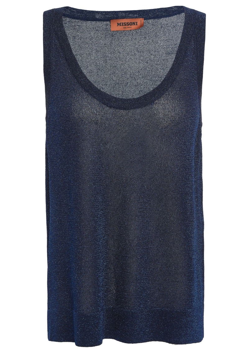 Missoni Woman Metallic Crochet-knit Tank Navy