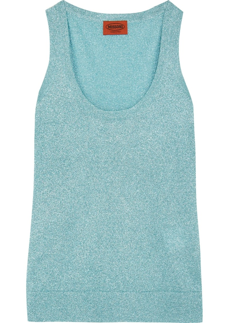 Missoni Woman Metallic Crochet-knit Tank Turquoise