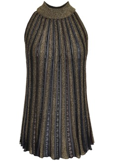 Missoni Woman Metallic Crochet-knit Top Navy