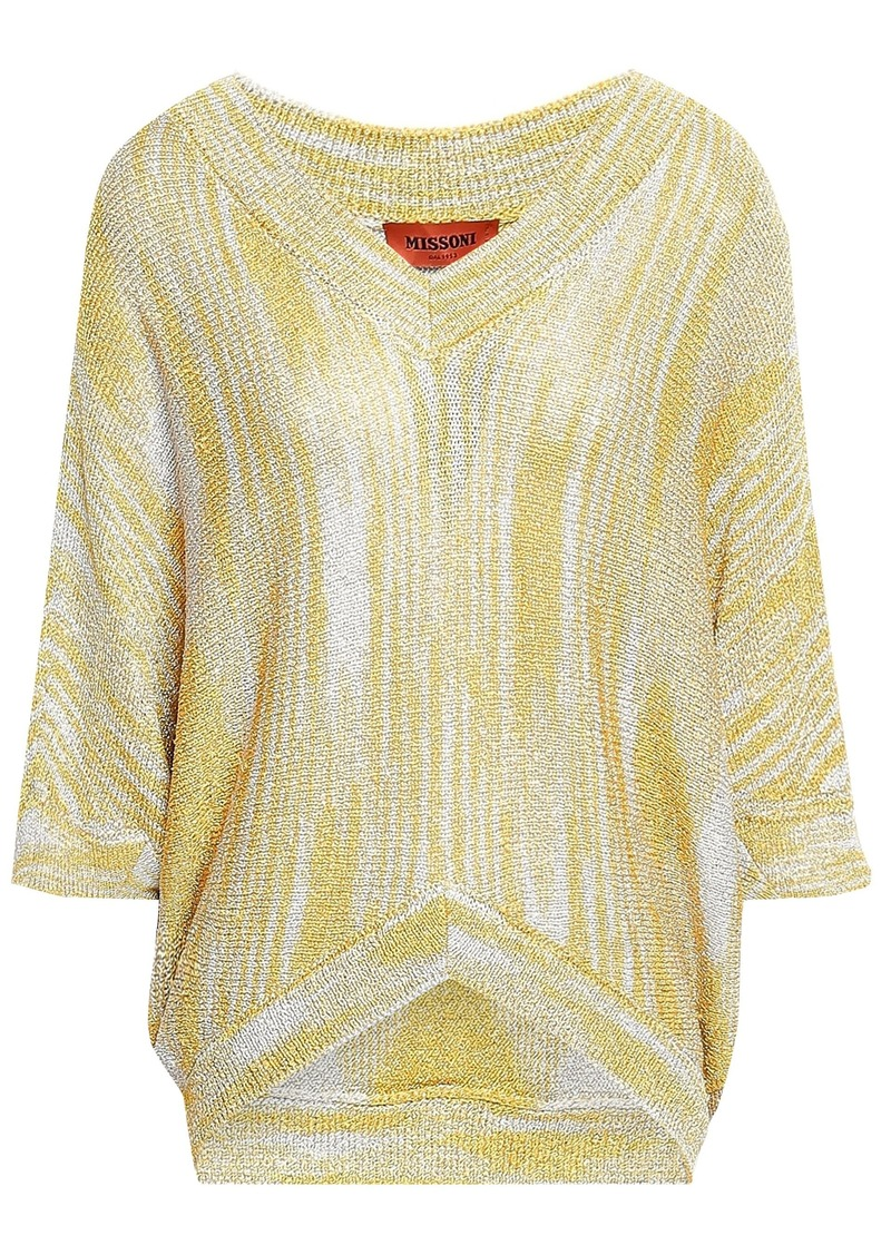 Missoni Woman Metallic Crochet-knit Top Pastel Yellow